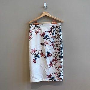 ZARA White floral zip back midi pencil skirt